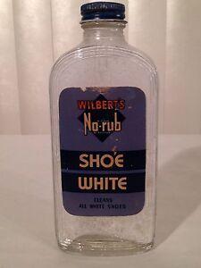 Vintage 1940s Wilberts No Rub Shoe White Polish Art Deco Glass Bottle 40s