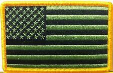 United States Flag BLACK & GREEN Military Patch With VELCRO® Brand Fastener