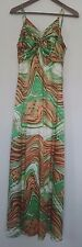 Long Party Formal Coctail Evening Maxi Dress Green Orange Size S 38