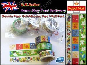 Moomin Paper Self Adhesive Tape 3 Roll Pack 15mm x 5m