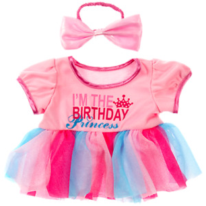 16 inch Pink & Blue Birthday Princess Dress & Top Outfit - teddy bear clothes