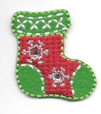"1 1/4"" x 1 1/4"" Christmas Stocking Patch with Rhinestone Accents"