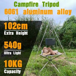 New Outdoor Camping Campfire Cooking Tripod 102cm Camping Equipment Picnic Grill