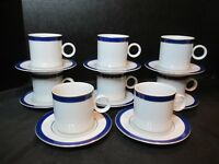 Tuchikichi Adam & Eve Cobalt Blue & Gold Trim 8 Demitasse Cups & Saucers