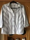 ladies/ Womes shirt size 14 M&co  White With Silver Teal Blue Stripes Stripes