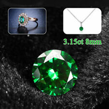 3.15ct VVS 8mm Round Natural Mined Green Emerald Cut Loose Stones Gemstone Gem L