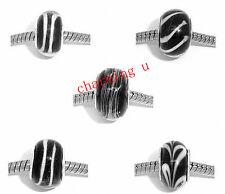 5pz misti perline in lampwork 14x10mm colore nero