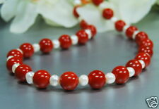 Beautiful Red Jasper Necklace with Freshwater Pearls L47cm
