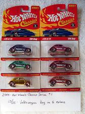 2004 Hot Wheels Classics Series 1 25/25 Volkswagon Bug 6 Car Set in 6 Colors