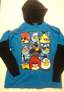 Boys Angry Birds Blue Black Two-Tone Long Sleeve Shirt Sizes 10-12, 14-16, 18