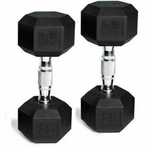 25 lb Pound PAIR of Rubber Coated Hex Dumbbells 50 lbs total Ships FAST SAME DAY