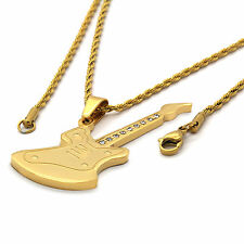 """Mens Gold Plated Stainless Steel Guitar Pendant 2mm 24"""" Inch Rope Chain Necklace"""