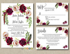 Personalized Wedding Invitation Boho Burgundy Floral with Envelopes