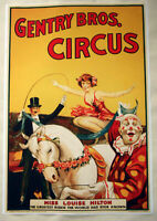 Large Format HiQ Facsimile of 1920 Gentry Bros Circus Poster ~ Equestrian 36x24