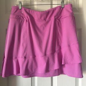Tail Golf Skort Sz Large Silky Stretch Zip Pockets Tiered Ruffled Lavender