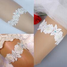 Luxury Lace Bridal Garter, Something Blue Pearl, Flower Beaded Wedding BridePro