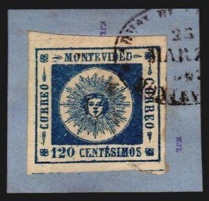 Uruguay 1860 Sun #16b on fragment Ex Lee gorgeous dark blue VF-XF