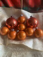 Vintage Shiny Brite & Other Mercury Glass Orange Ornaments Lot Of 9