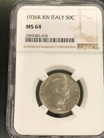 1936R XIV ITALY 50C - NGC - MS 64 Perfect Coin