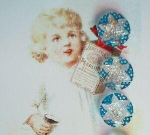 "Set of 4~Vintage 1//2/"" Lapis Blue  Framed Crystal Star  Glass Buttons~old stock"