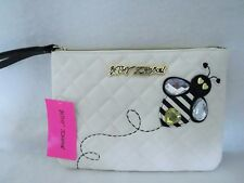 Wallet~Betsey Johnson CREAM WRISTLET POUCH~Diamond Quilted~BB16545~NWT $75