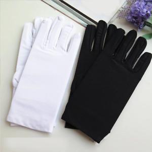 1 Paar Stoffhandschuhe dünne kurze Handschuhe glänzend elastisch schwarz weiß
