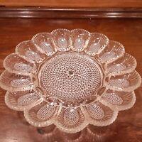 """Vintage 1960's Indiana Clear Glass Deviled Egg Plate Hobnail 11 1/4"""" Platter"""