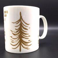 Starbucks 2014 Gold Christmas Tree Coffee Mug Holds 12 oz 4 inch H White Ceramic