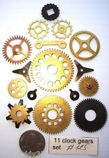 Lot of 11 vintage clock brass small and large gears wheels Steampunk parts #125