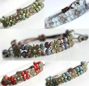 Bracelet Beaded Flower Ladies Daisy Jewellery Bangle Charm Gift Ceramic Girls