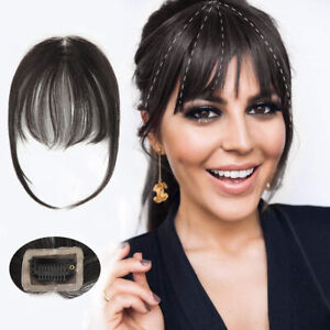 Neat Air Bang Fringe Human Hair Blonde Straight Bangs Clip in Hairpiece Topper