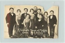 Trimmed 1920s RPPC Klinkharts Troupe of Midgets Circus Barnes Dalboy Richmond IN