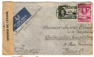 Gold Coast/Ghana KGVI 1940 WW2 Opened by Censor Cover  Trakwa to France (02)