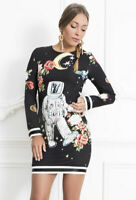 Astronaut Space Stars Planets Print Long Sleeved Mini Sheath Dress in Black BNWT