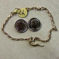 9 ct GOLD second hand fancy link ankle bracelet & horn of plenty