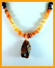 """NEW Genuine Natural dark Baltic AMBER Pendant, 19"""" beaded raw amber necklace 27g"""