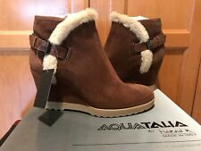 NEW AQUATALIA Italy Christa Faux-Fur Suede Wedge Bootie Boots Brown 10.5  $395
