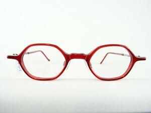 Rote Brille Brillengestell Brillenfassung unisex 6-eckig kleine Glasform Gr. S