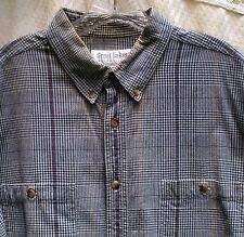 Men Sz XL Navy Blue Check Cotton Great Lakes Long Sleeve Button Shirt 2 pockets