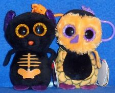 TY FANGS and SCREECH the HALLOWEENIE BEANIE BABIES - MINT with NEAR MINT TAGS