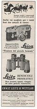 Pubblicità epoca 1956 LEICA LEITZ CAMERA BINOCOLI advertising werbung publicitè