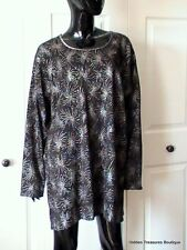 Bobbie Brooks Woman Plus Size 26W/28W Top Tunic Black Ribbed LS Silver Swirl