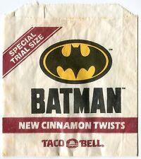 BATMAN Movie 1992 promotional Cinnamon Twists Wrapper TACO BELL