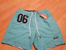 """Mens Superdry Waterpolo Swim Shorts Size: XL 36"""" Waist Aqua Blue - New With Tags"""