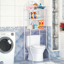 Bathroom White 3 Shelf Over Toilet Storage Rack Laundry Shelf Unit Organizer