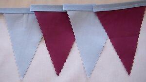 WEST HAM BURNLEY ASTON VILLA  fabric football mini bunting 3mt , Blue & Burgundy