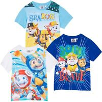 Paw (Sea) Patrol Boys 100% Cotton Tops T-Shirt tees Chase Marshall Bulky 2-6 yrs