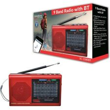 Supersonic SC-1080BT Red Rechargeable 9 Band AM/FM/SW1-7 Bluetooth USB Radio
