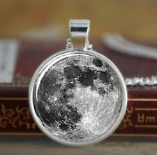 "Full Moon 1"" Diam. 925 Sterling Silver Plated Pendant Chain Necklace Space P05"