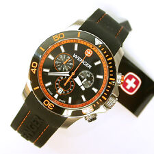 NEW $450 GENTS WENGER 0643.104 ORANGE SEA FORCE CHRONOGRAPH WATCH OF THE YEAR